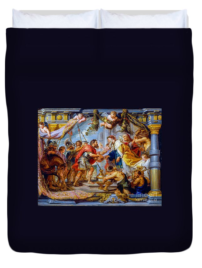 Meeting Duvet Cover featuring the painting The Meeting Of Abraham And Melchizedek by Viktor Birkus