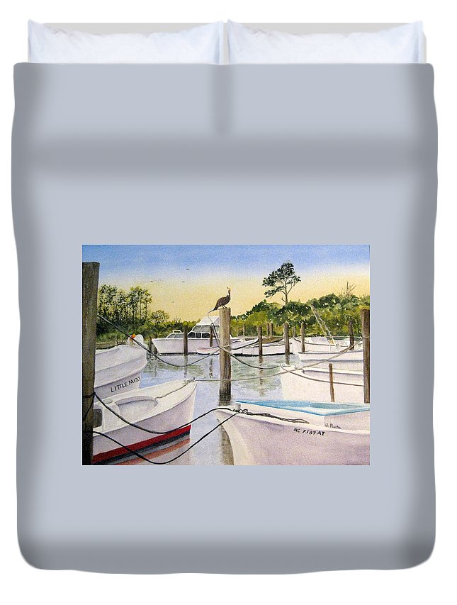 Beach Duvet Cover featuring the painting The Meeting Place by Julia Rietz