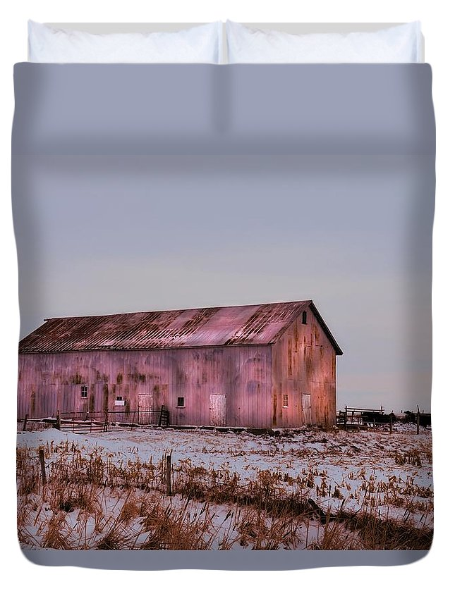 Tin Duvet Cover featuring the photograph The Metal Barn by Bonfire Photography