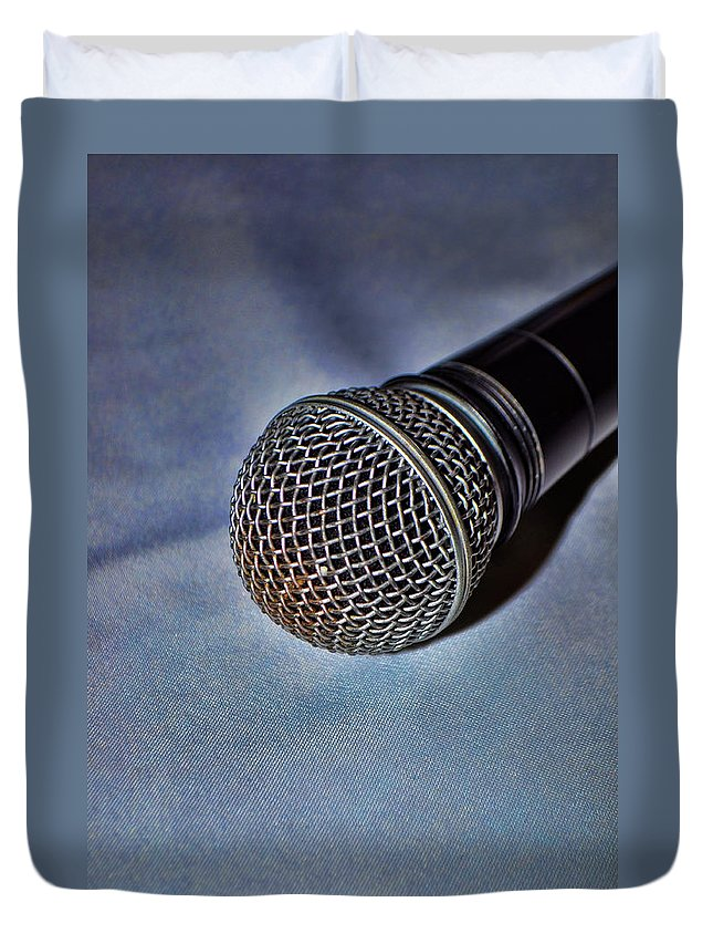 Hdr Duvet Cover featuring the photograph The Mic by Jes Fritze