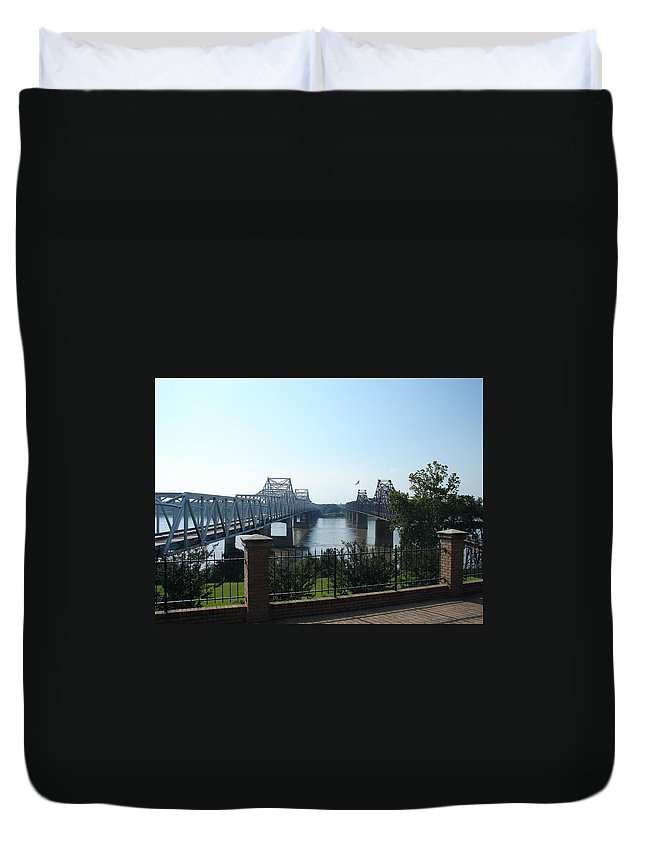 Landscape Duvet Cover featuring the photograph The Mighty Mississippi by Lew Davis