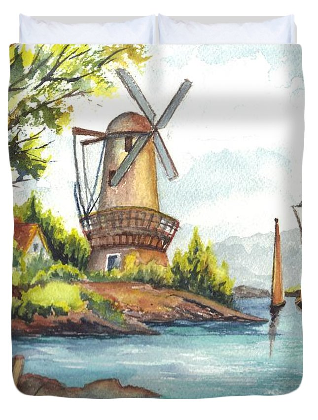 Windmill Duvet Cover featuring the painting The Olde Mill by Carol Wisniewski