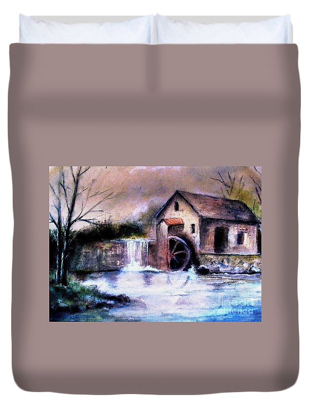 Millstream Duvet Cover featuring the painting The Millstream by Hazel Holland