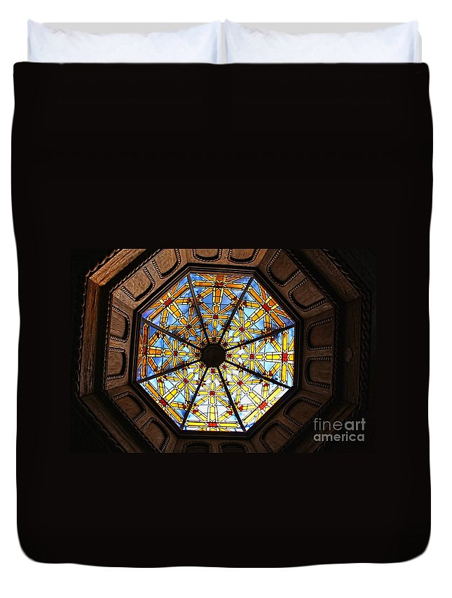 Mission Inn Duvet Cover featuring the photograph The Mission Inn Looking Up by Tommy Anderson