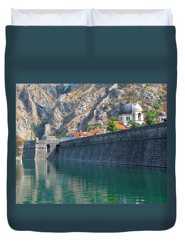 Moat Duvet Cover featuring the photograph The Moat Of Kotor by Douglas J Fisher