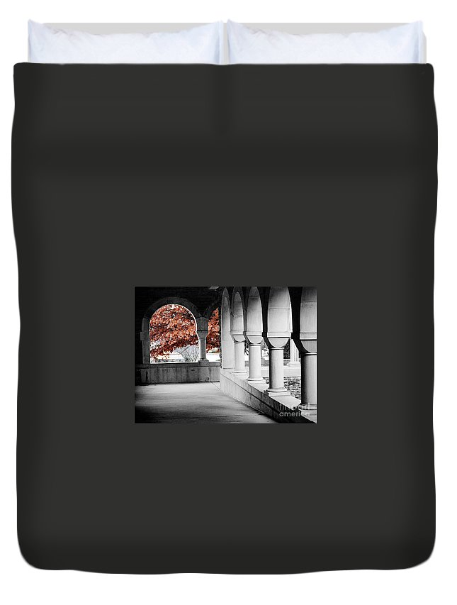 Monastery Duvet Cover featuring the photograph The Monastery In Autumn by Mike Nellums