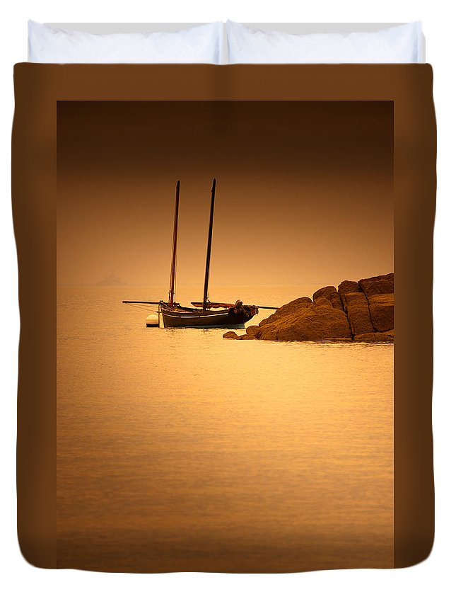 Loriental Duvet Cover featuring the photograph The Mont Saint-michel Bay At Sunset by Loriental Photography