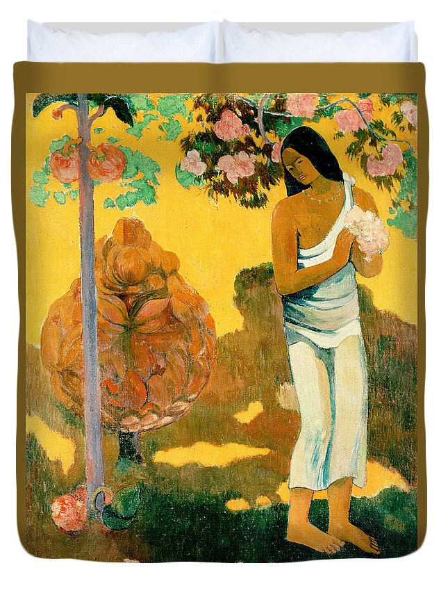 Paul Gauguin Duvet Cover featuring the painting The Month Of Mary by Paul Gauguin