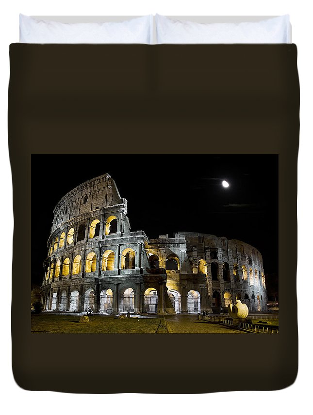 Colosseum Duvet Cover featuring the photograph The Moon Above The Colosseum No1 by Weston Westmoreland