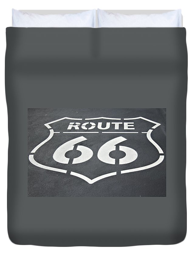 Route Duvet Cover featuring the photograph The Mother Road by Ricky Barnard