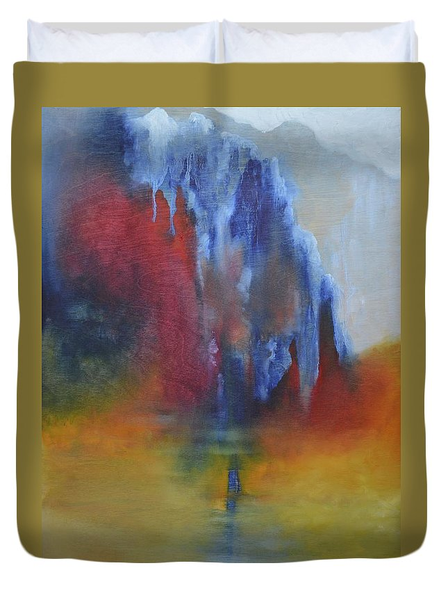 Mountain Duvet Cover featuring the painting The Mountain by Margaret Park