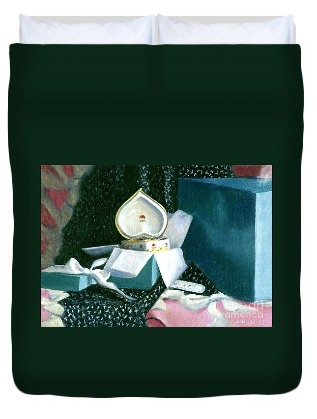 Heart Duvet Cover featuring the painting The Muse by Candace Lovely