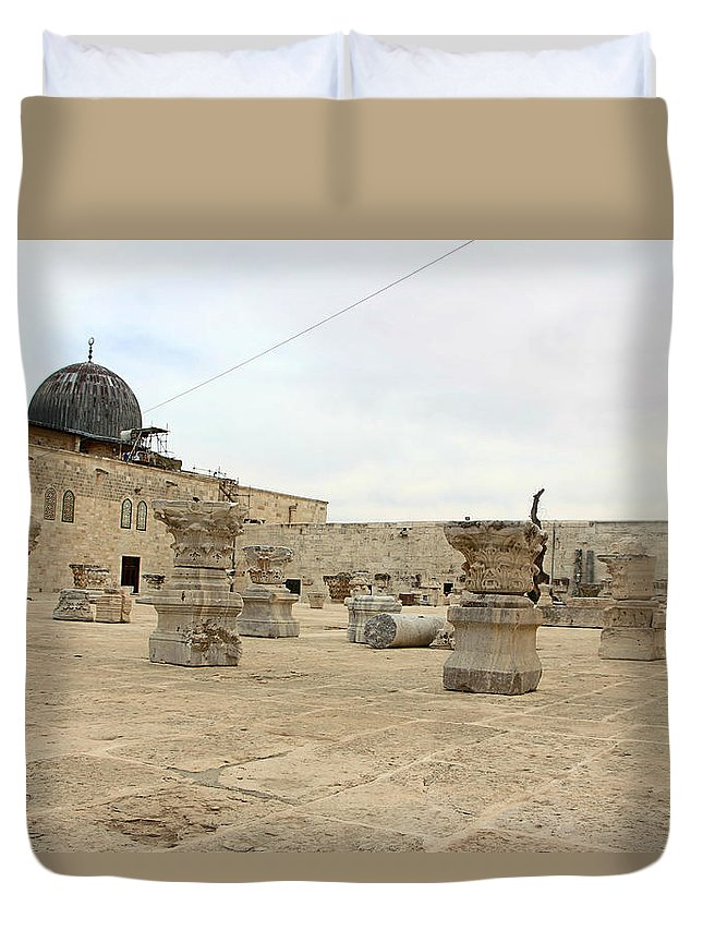 Museum Duvet Cover featuring the photograph The Museum At Dome Of The Rock by Munir Alawi
