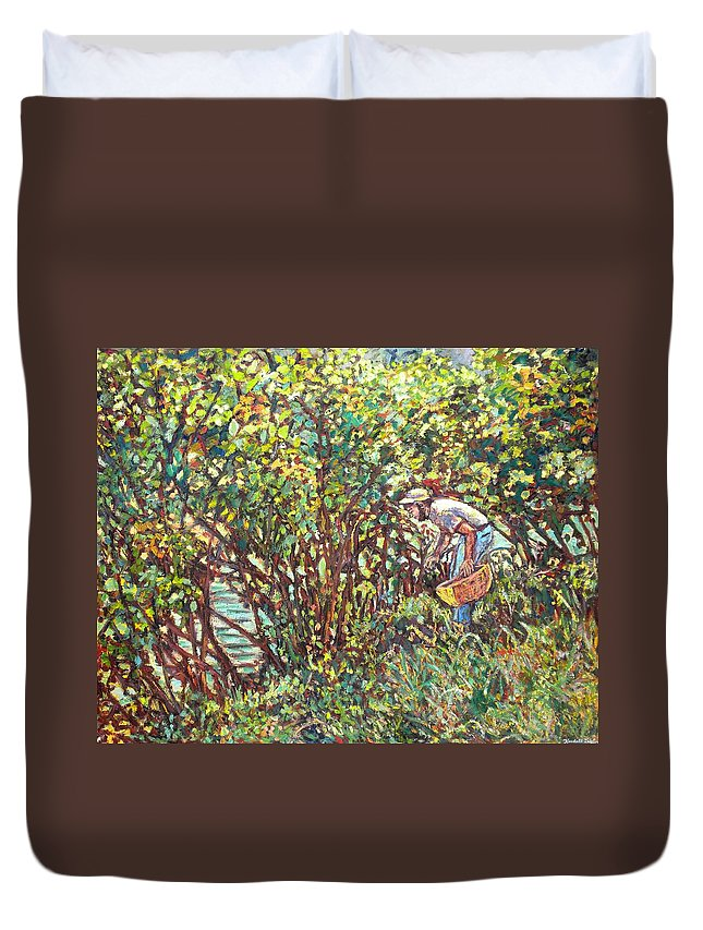 Landscape Duvet Cover featuring the painting The Mushroom Picker by Kendall Kessler