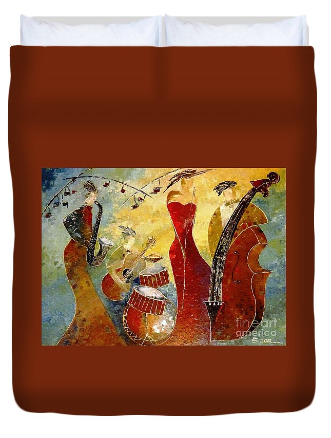 Music Duvet Cover featuring the painting The Music Never Stopped by Amalia Suruceanu