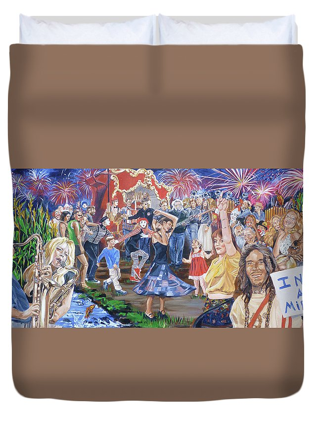 The Grateful Dead Duvet Cover featuring the painting The Music Never Stopped by Bryan Bustard