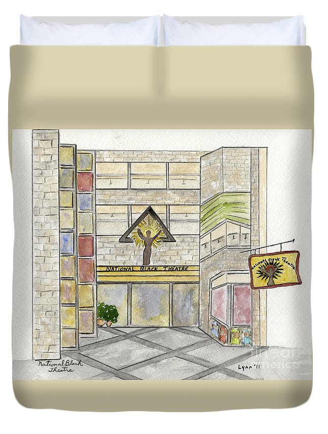 The National Black Theatre Harlem Fifth Avenue Duvet Cover featuring the painting The National Black Theatre by AFineLyne