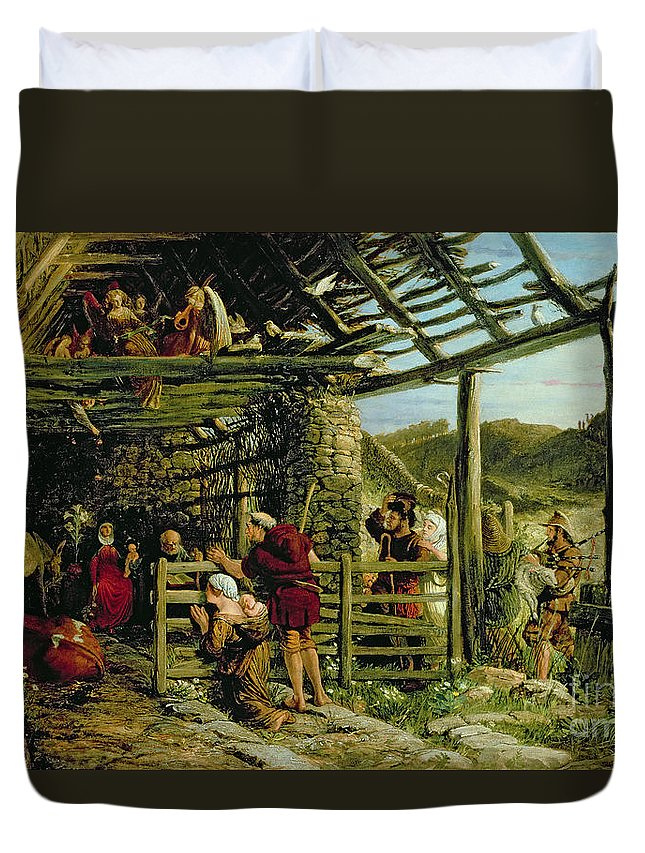 Barn Duvet Cover featuring the painting The Nativity by William Bell Scott
