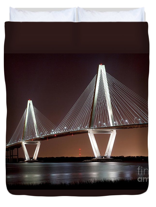 Arthur Ravenel Duvet Cover featuring the photograph The New Cooper River Bridge by Bill Cobb