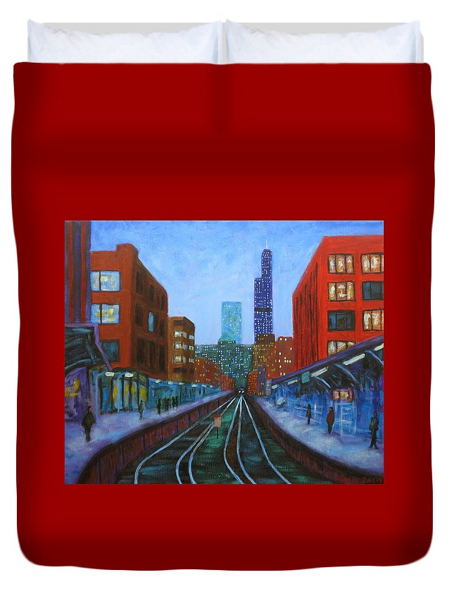 Chicago Art Duvet Cover featuring the painting The Next Train by J Loren Reedy