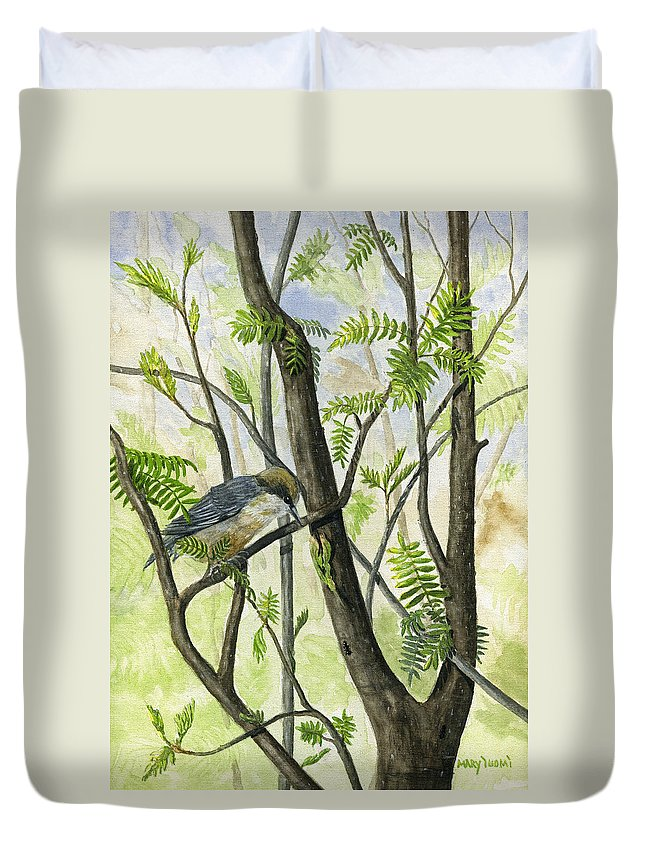 Bird Duvet Cover featuring the painting The Nuthatch by Mary Tuomi