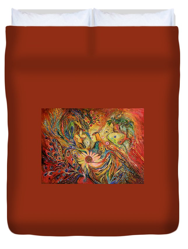 Original Duvet Cover featuring the painting The Oasis by Elena Kotliarker