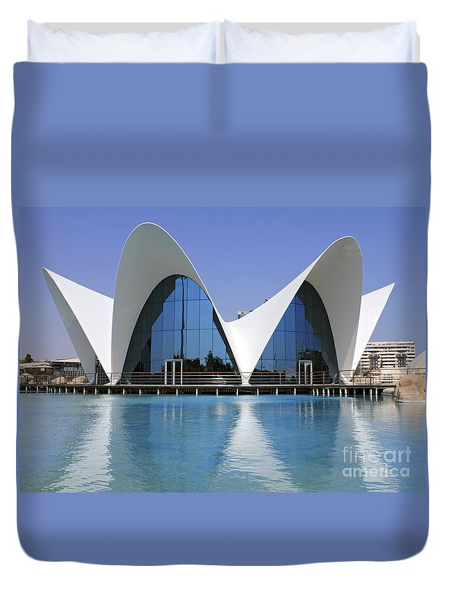 The Oceanogràfic Of The City Of Arts And Sciences Valencia Spain Duvet Cover featuring the photograph The Oceanografic Valencia by Julia Gavin