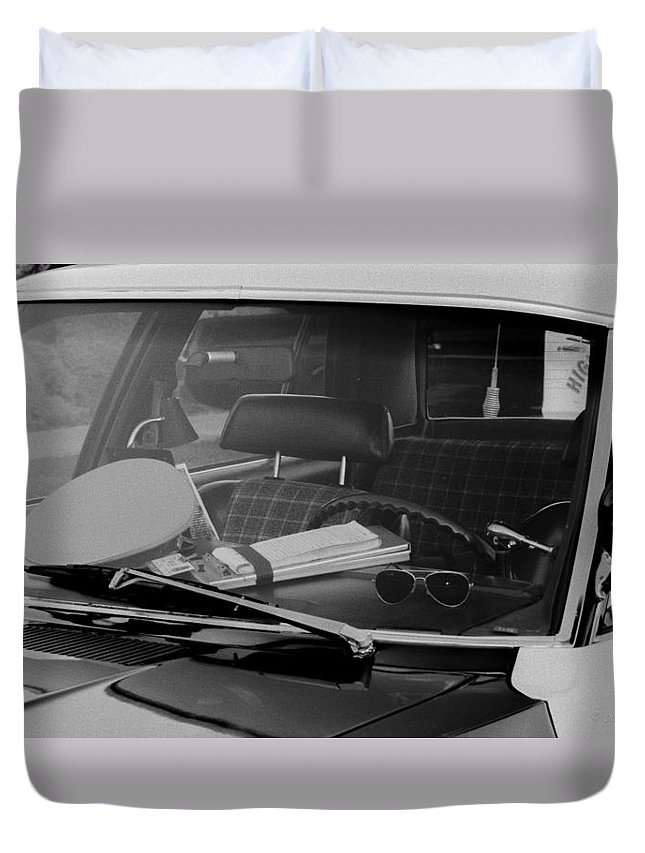1973 Duvet Cover featuring the photograph The Office On Wheels by Jim Thompson