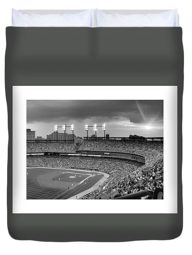 Detroit Duvet Cover featuring the photograph The Old Ballgame by Charles Owens