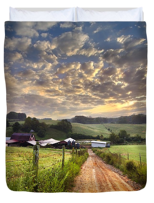 Appalachia Duvet Cover featuring the photograph The Old Farm Lane by Debra and Dave Vanderlaan