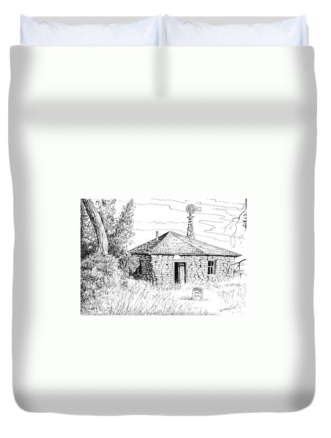 Art Duvet Cover featuring the drawing The Old Homestead by Bern Miller