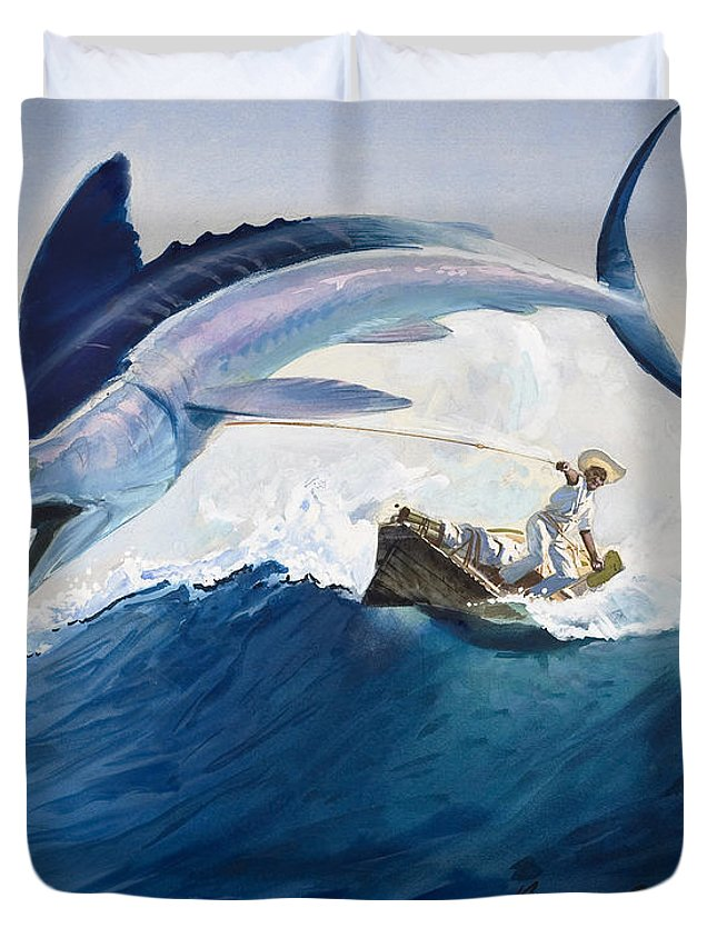 The Duvet Cover featuring the painting The Old Man And The Sea by Harry G Seabright