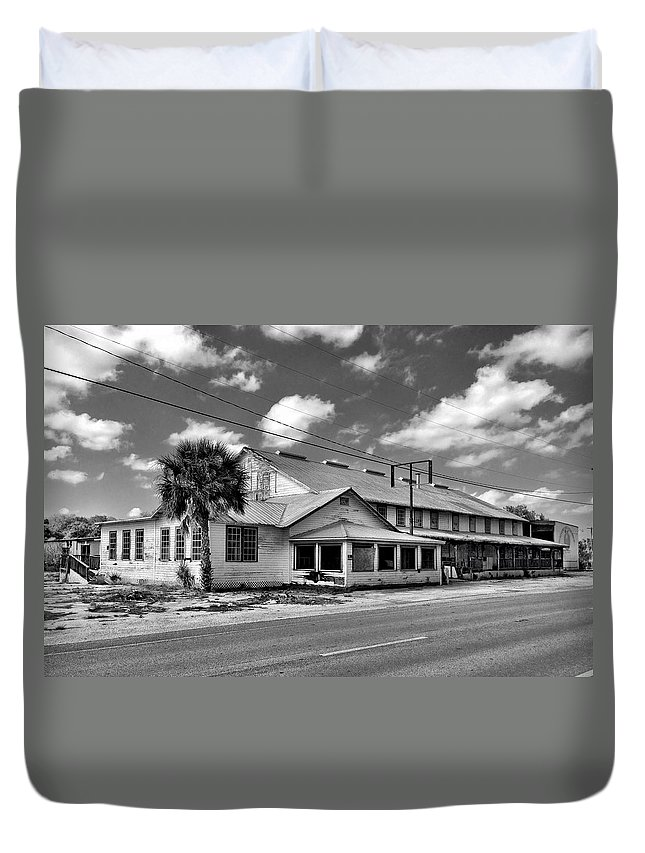 The Old Victory Groves Packing House Duvet Cover featuring the photograph The Old Victory Groves Packing House by Carlos Avila