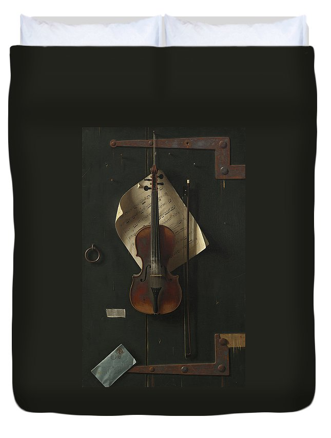William Harnett Duvet Cover featuring the painting The Old Violin by William Michael Harnett