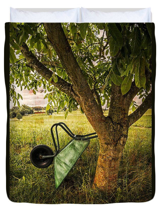Appalachia Duvet Cover featuring the photograph The Old Wheelbarrow by Debra and Dave Vanderlaan