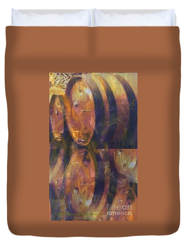 Restaurant Duvet Cover featuring the painting The Older The Better by PainterArtist FIN