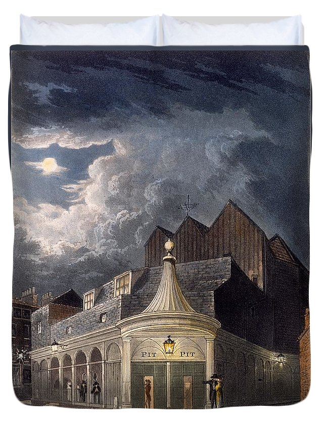 Olympic Theatre Duvet Cover featuring the drawing The Olympic Theatre, 1826 by Daniel Havell