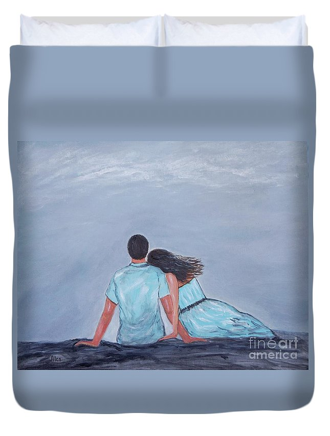 Couple Duvet Cover featuring the painting The One I Love by Leslie Allen