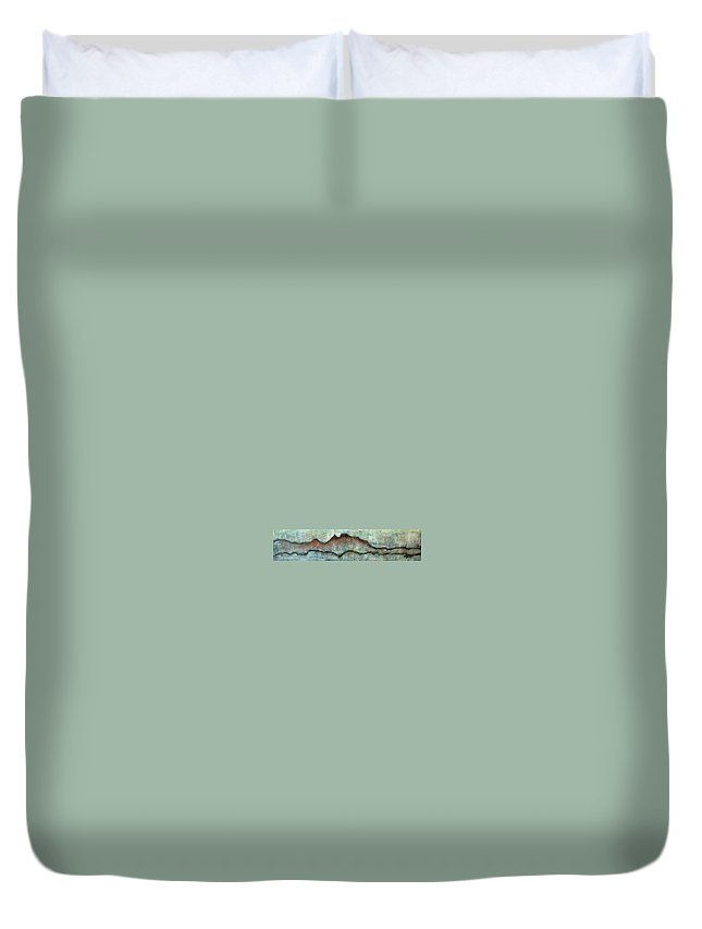Landscape Duvet Cover featuring the painting The Only Way Out Is Through by Laurie Maves ART