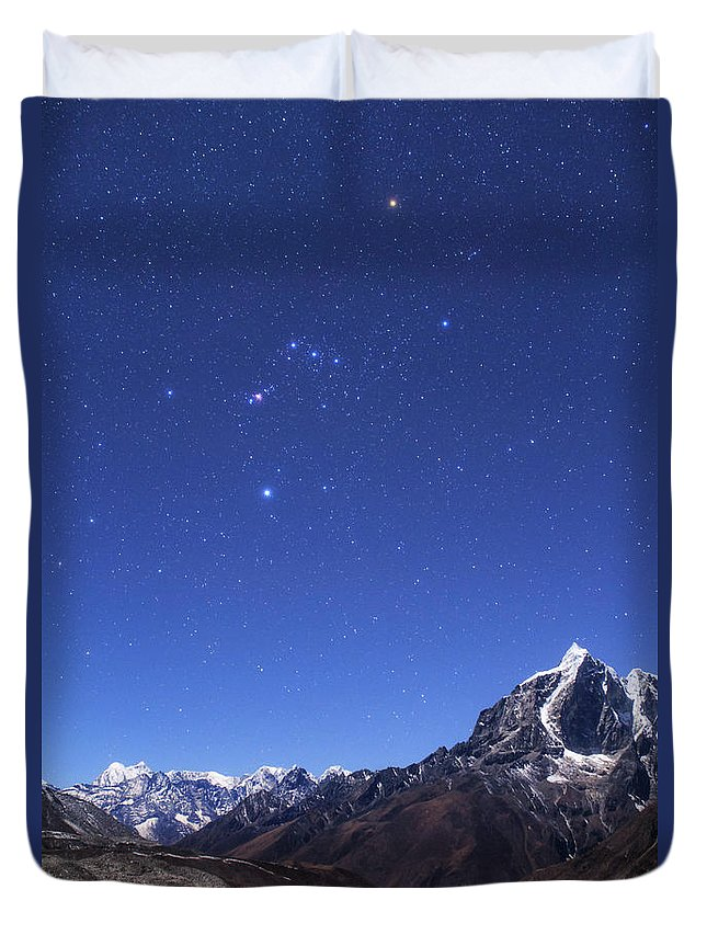 Vertical Duvet Cover featuring the photograph The Orion Constellation by Jeff Dai