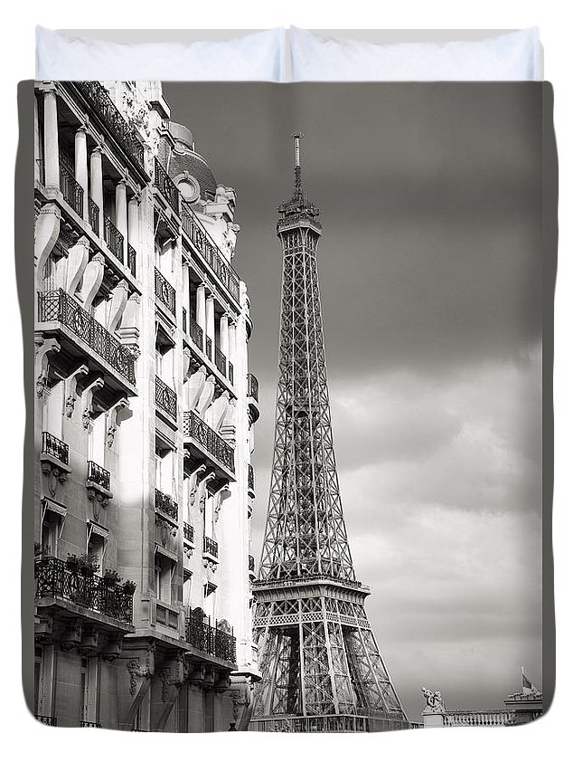 Different View Duvet Cover featuring the photograph The Other View Of The Eiffel Tower by For Ninety One Days
