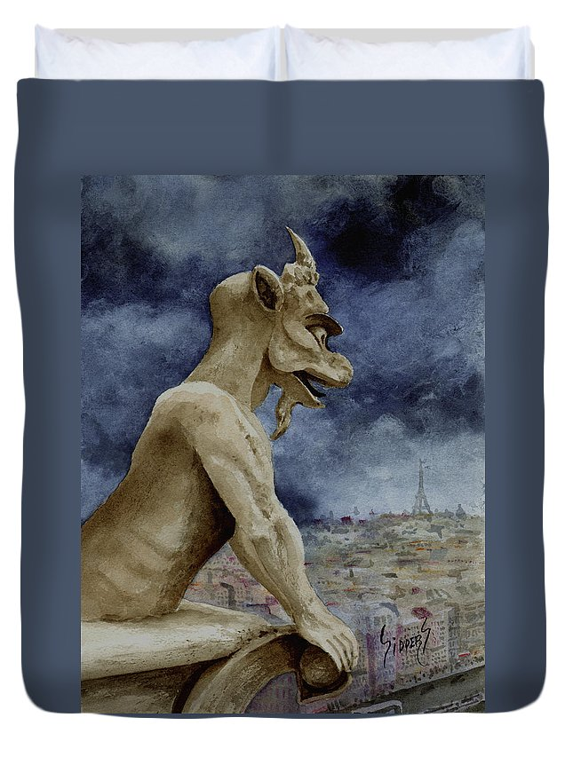 Notre Dame Duvet Cover featuring the painting The Overseer by Sam Sidders