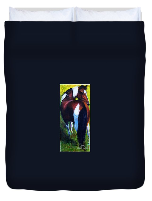 Horses Duvet Cover featuring the painting The Paint by Frances Marino