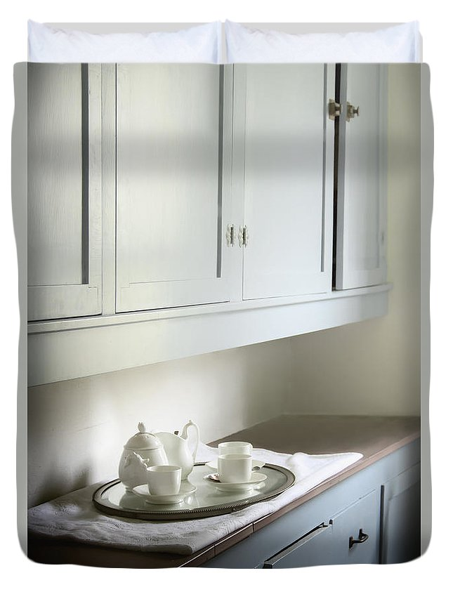 Platter; Buffet; Vintage; Teapot; China; Formal; Inside; Indoors; House; Home; Tea; Setting; Drink; Set; Still Life; Service; White; Bright; Clean; Cabinets; Cupboards; Pantry; Butler; Drawers; Painted; Counter; Countertop; Kitchen; Servant Duvet Cover featuring the photograph The Pantry by Margie Hurwich