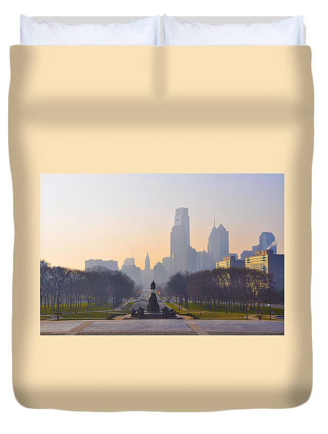 Parkway Duvet Cover featuring the photograph The Parkway In The Morning by Bill Cannon