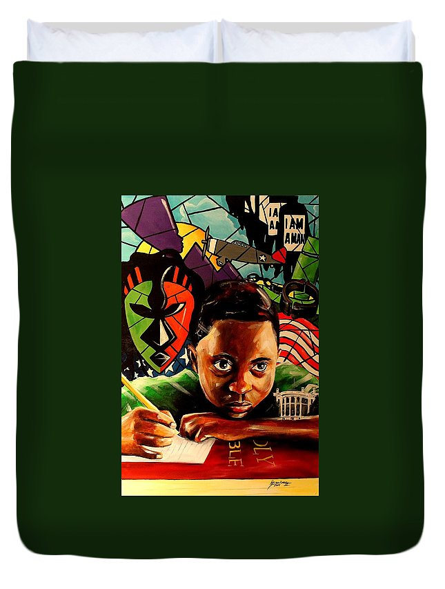 African American Art Duvet Cover featuring the painting The Path Forward by Henry Blackmon