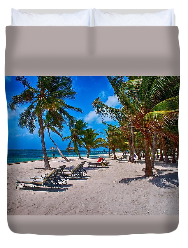 Belize Duvet Cover featuring the photograph The Perfect Beach by Kristina Deane