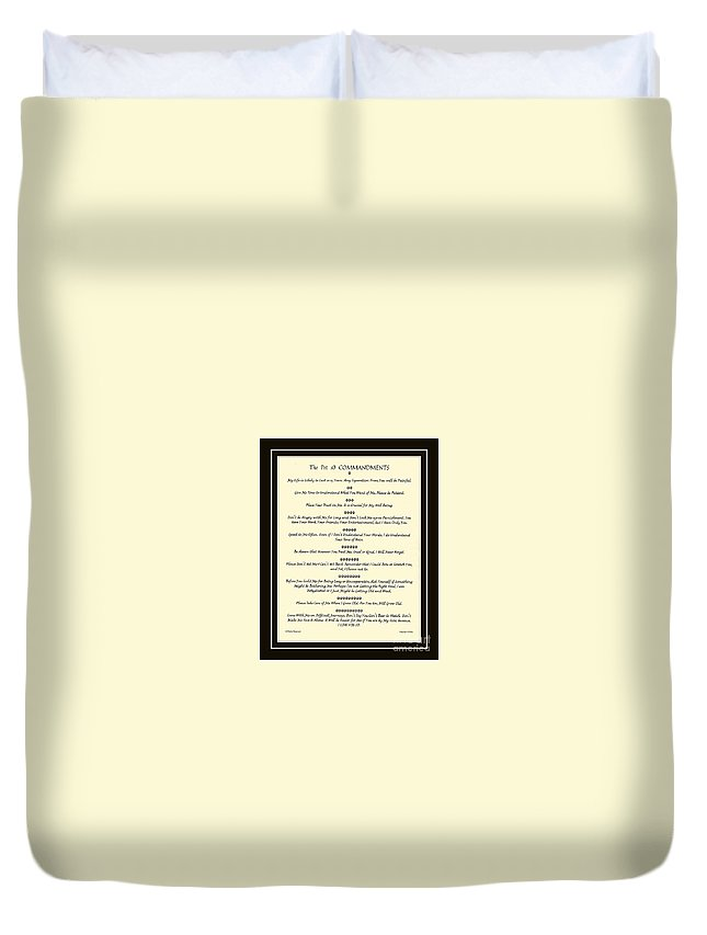 Pet Duvet Cover featuring the mixed media The Pet 10 Commandments With Bevelled Border by Desiderata Gallery