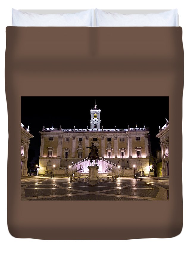 Rome Duvet Cover featuring the photograph The Piazza Del Campidoglio At Night by Weston Westmoreland