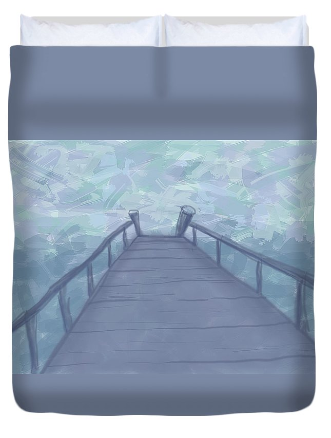 Pier Duvet Cover featuring the painting The Pier by Alison Stein